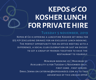 Exclusive hire for kosher lunch - Tuesday 5 NOV 2019