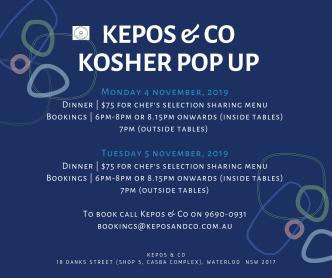 Kosher pop up dinners - NOV 2019